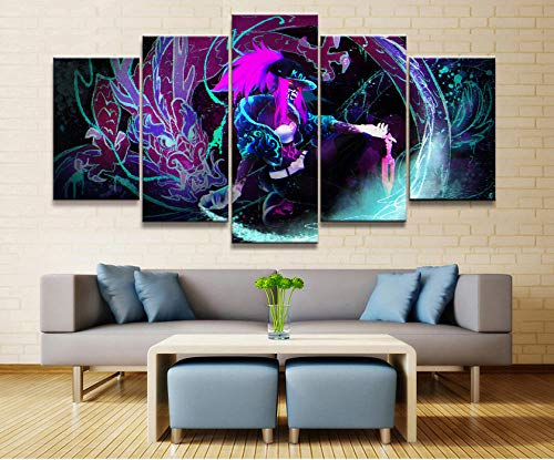 HNFSCLUB Modular Canvas Art Painting for Home Decoration 5 Pieces Online APP Game Scenes Painting Wall Poster for Home Prints-UnFramedB (Best Dota 2 App)