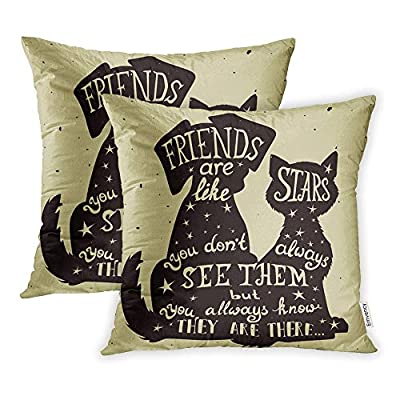 Emvency Set of 2 Throw Pillow Covers Print Polyester Zippered Cat and Dog Friends Grungy for Friendship Day Quote Lettering All Holidays Pillowcase 16x16 Square Decor for Home Bed Couch Sofa