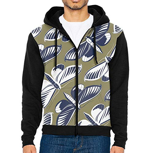 Mens Polyester Big Sizes Zip Up Hoody Hooded Zipper Top Warm Pullover Hoodies Butterfly Pattern Tracksuit Sweatshirt Hoodie (S to 2XL)