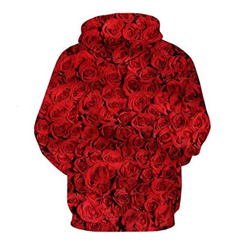 LOOKAA Shirts Men's Fashion Valentine's Day 3D Rose Love Long Sleeve Hat Guard Blouse Top (Best Shark Steam Mop 2019)