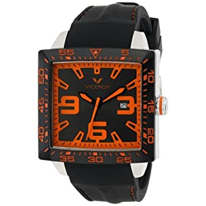 Viceroy Men's 432099-45 Orange/Black Square Rubber Watch