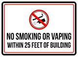 No Smoking Or Vaping Within 25 Feet Of Building Red, Black & White Safety Warning Small Sign, Metal, 7.5x10.5 Inch