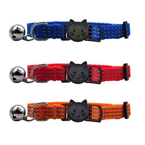 EXPAWLORER Reflective Cat Collar with Bell, Breakaway Safety Quick Release Pet Collars Adjustable, Bule Red Orange, Pack of 3