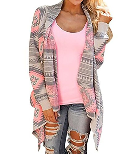 Womens Geometric Print Casual Knit Cape Cloak Sweater Cardigan Coat