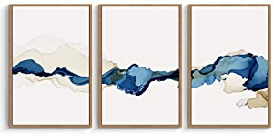 """signwin 3 Piece Framed Canvas Wall Art Blue and White Watercolor Canvas Prints Home Artwork Decoration for Living Room,Bedroom - 16""""x24""""x3 Panels"""