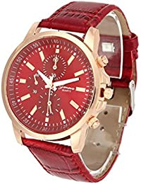Womens Quartz Watch,COOKI Unique Analog Fashion Clearance Lady Watches Female watches on Sale Casual Wrist Watches for Women,Round Dial Case Comfortable Faux Leather Watch-H10 (Red)