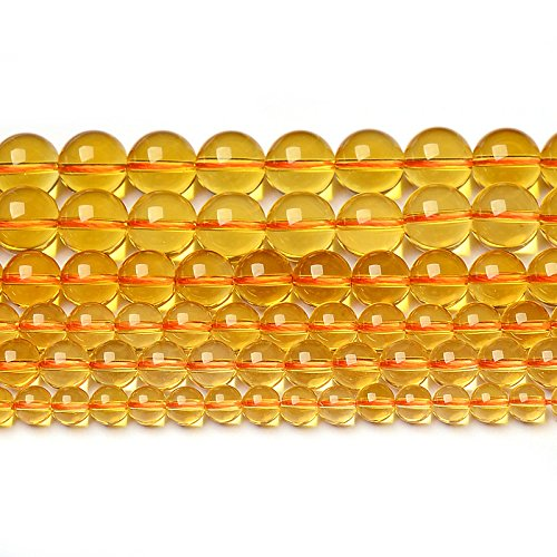 4MM 6MM 8MM 10MM 12MM 14MM Round Gemstone Yellow Citrine Natural Stone Beads Strand For Jewelry Making Wholesale 15