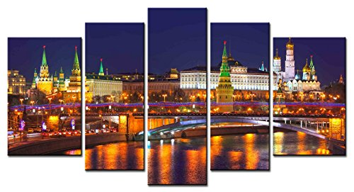 SmartWallArt - City Landscape Series 5 piece Home Decor Wall Art Moscow Russia Kremlin City Night Mirror River Paintings for Modern Living Room by SmartWallArt