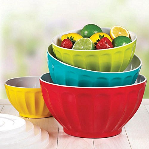 Melamine Mixing Bowl Set, 4 Bowls and 4 Lids.