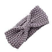 DZT1968® Baby Girl Wide Knit Turban Headband Head Wrap Hair Band Head Warm (Gray)