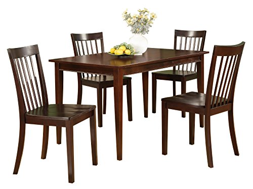 Pilaster Designs - 5 PC. Set Cherry Solid Pine Wood Dining Room Kitchen Table & 4 Chairs