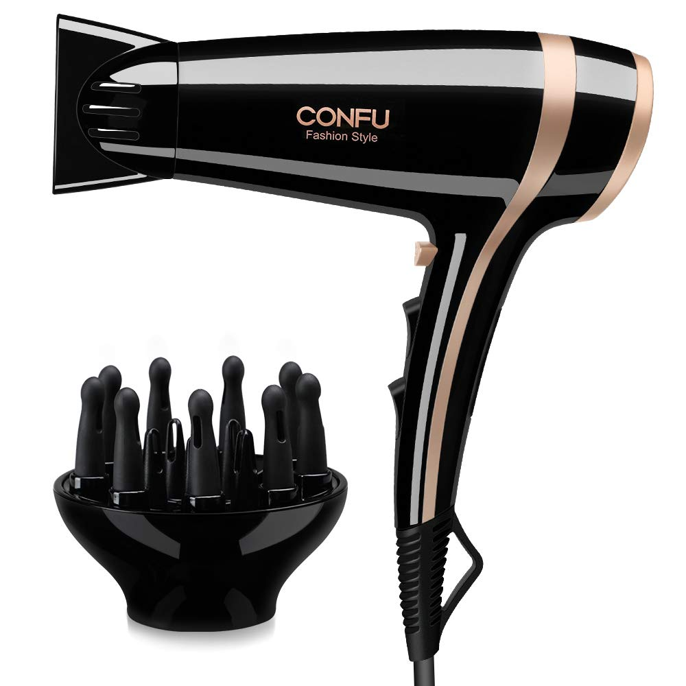 Professional Ionic Salon Hair Dryer, CONFU 1875 Watt Negative Ion Fast Drying Lightweight Quiet Blow Dryer, Low Noise Ceramic Tourmaline Hairdryer with Diffuser and Concentrator Nozzles