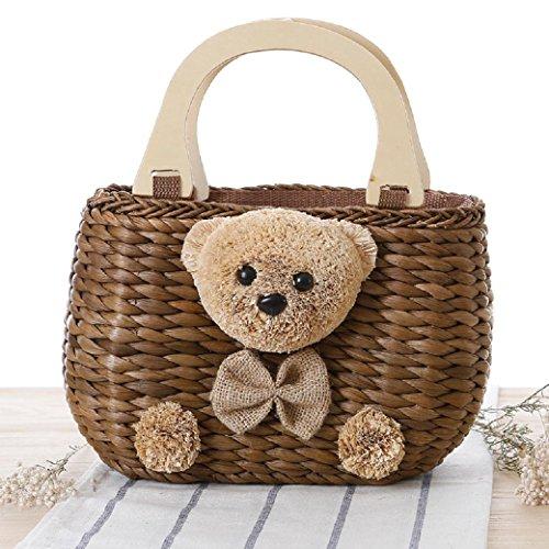 FAIRYSAN Lolita Cute Tote Bag Teddy Bear Woven Straw Bag Handbag Rattan Bag(Brown)