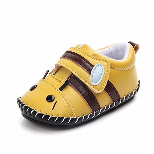 Lidiano Baby Non Slip Rubber Sole Cartoon Walking Slippers Crib Shoes Infant/Toddler (6-12 Months, Bee) -