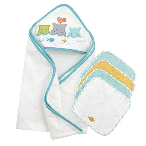 Just Born Just Bath Love to Bathe Knit 5-Piece Hooded Towel and Washcloth Set, Hippo (5 Piece Washcloth Set)