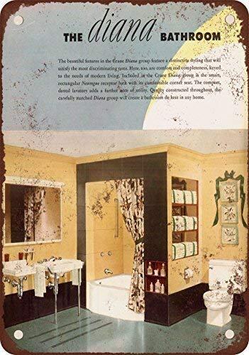 PCUZ 1930 Crane Diana Bathroom Fixtures Vintage Look Reproduction Metal Tin Sign 7.8