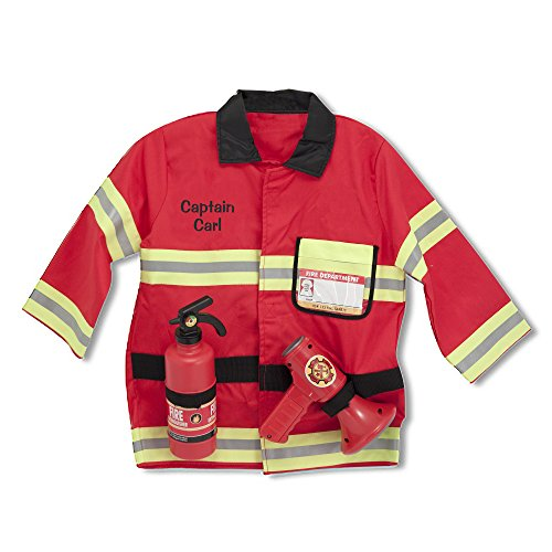Melissa & Doug Personalized Fire Chief Role Play Costume Dress-Up Set Costume ()