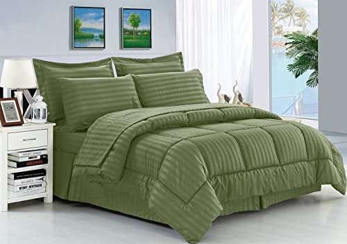 Elegant Comfort Wrinkle Resistant - Silky Soft Dobby Stripe Bed-in-a-Bag 8-Piece Comforter Set -Hypoallergenic - Full/Queen, Sage