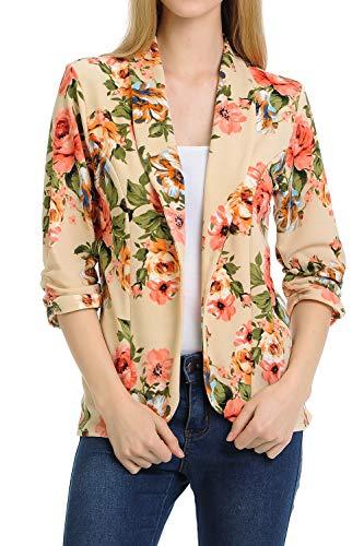 MINEFREE Women's 3/4 Ruched Sleeve Lightweight Work Office Blazer Jacket BEIGEPINK 2XL
