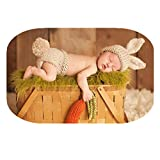 Coberllus Newborn Baby Photo Props Outfits Crochet Knitted Bunny Rabbit Hat Shorts for Boy Girls Photography Shoot