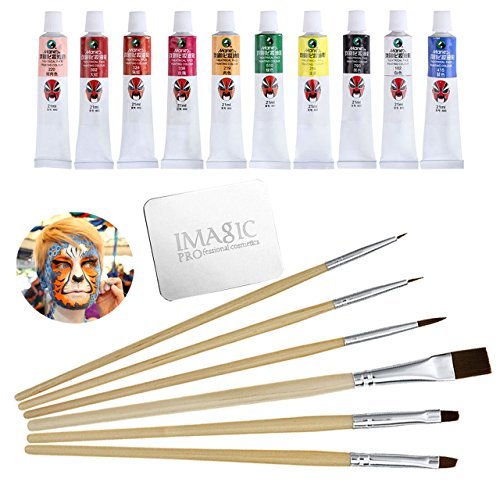 CCBeauty Professional Non-toxic Face Paint Oil 10 Colors Body Painting Oil Art Party Opera Make Up With Brushes Set+ Mixing Palette Ring