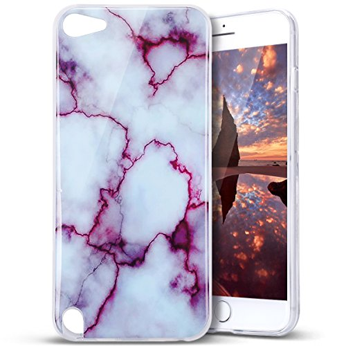Price comparison product image iPod Touch 6 Case, iPod Touch 5 Case, PHEZEN IMD Purple Marble Pattern IMD Design Cute Creative Anti-Scratch Bumper Ultra Slim TPU Soft Case Rubber Silicone Skin Cover for iPod touch 5 6th Generation