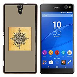 YiPhone /// Prima de resorte delgada de la cubierta del caso de Shell Armor - amarilla escudo de Viking dibujo negro marrón - Sony Xperia C5 Ultra