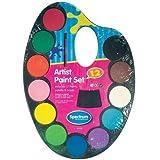 Juego de pinturas para niños, acuarela de 12 colores, con cepillo, paleta y manualidades