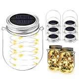 Solar Mason Jar Lights, BizoeRade Dual Row Solar Powered 20 LED Fairy Firefly String Lights(6 Lid Lights and 6 Hangers Included),Fit Regular Mouth Mason Jars for Outdoor Decoration(NOT Included Jars)