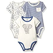 Touched by Nature Baby Organic Cotton Bodysuit 3-Pack, Elephant, 3-6 Months