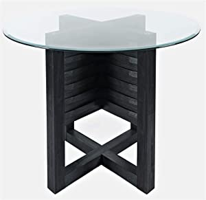 Jofran Altamonte Round Height Glass Top Counter Dining Table, Dark Charcoal