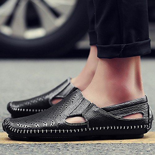 Xing Lin Sandales En Cuir LÉté Pour Hommes Chaussures Sandales Soja Cool Hommes Décontractées Homme Respirant Chaussures Chaussures Trou-Trous ,42, Noir