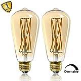 12W Edison Style Vintage LED Filament Light Bulb,ST64(ST21) Led Retro Bulb,100 Watt Equivalent Light Bulbs,Warm White 2500K,1200LM,Dimmable, E26 Medium Base Lamp, Antique Shape, (2 Pack)