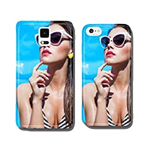 Summer portrait of young attractive woman with sunglasses cell phone cover case Samsung S5