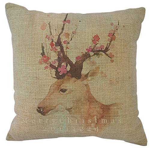 Linen Merry Christmas Decorative Throw Pillow Case Cushion Cover Square 18