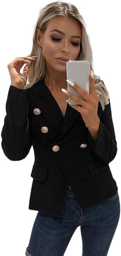 Risthy Blazer Mangas Largas Para Mujer Trajes Chaqueta Abrigo De Oficina Delgado Color Solido Tallas Grandes Cardigan Casual Traje De Chaqueta Negocio Solapa Tops Blusa Amazon Es Ropa Y Accesorios