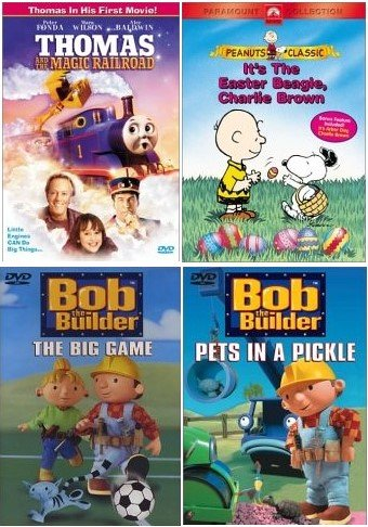 [4 DVD KIDS PACK] Bob the Builder - Pets in a Pickle / Bob the Builder - The Big Game / Thomas and the Magic Railroad / It's The Easter Beagle, Charlie Brown