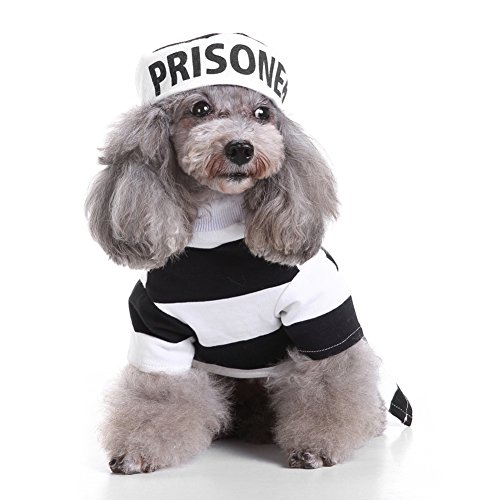 Blackzone Pet Prisoner Costume Halloween Party Pet Dog Costume Clothes Cosplay with -