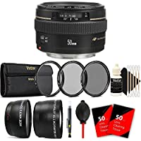 Canon EF 50mm f/1.4 USM Standard Lens for Canon SLR Cameras - Fixed Lens with Accessory Bundle