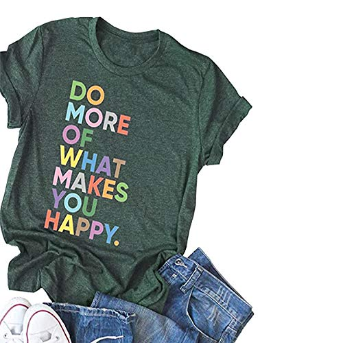 Deyuanjiagou Women's Fun Happy Graphic Tees Summer Cute Round Neck Short Sleeve Letter Printed T-Shirts ArmyGreen ()