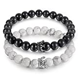 JEWMAY Couple Black Matte Agate & White Howlite CZ Crown Queen 8mm Beads Bracelet, 7.5''