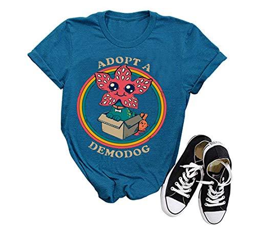 GEMLON Upside Down Graphic Shirt Novelty T Shirts for Women Summer Casual Tee (Blue, S)