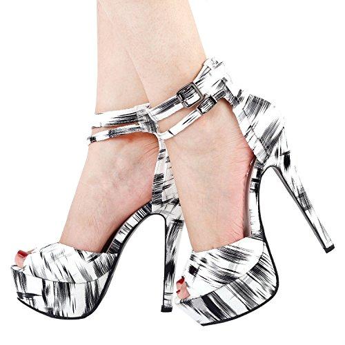 Bianco Doppia Story A Spillo Mostra Con Nero Sexy Lf80105 Caviglia Cinturino Cinghie D'orsay Alla Pompe SREfFBqyA