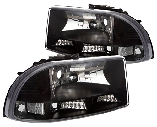 AJP Distributors Allin1 Headlights With Bumper And Corner Signal Lights Black Housing Clear Reflectors For Dodge Dakota/Durango Dodge Dakota Corner Light