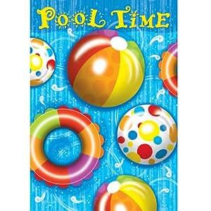 Tiempo de piscina Verano divertido en la playa bola anillo casa de doble cara bandera 28x 40
