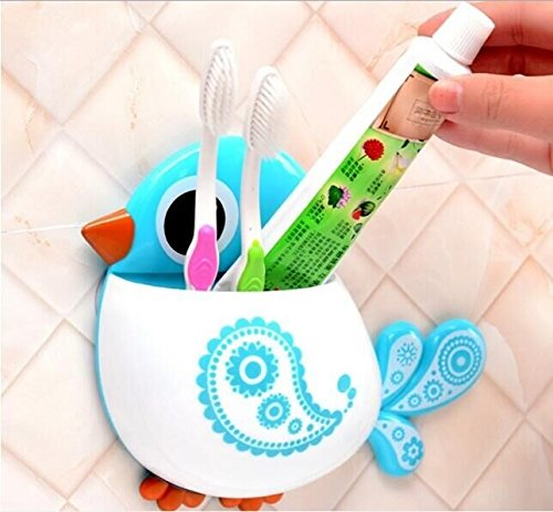 Drhob 1Pcs Cute Cartoon Bird Toothbrush Holder Wall Suction Cup Pocket Bathroom Organizer Storage Make up Brush Holder (Multicolor random)