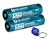 Two Olight ORB-186P26 2600mAh Protected Button Top Rechargeable 18650 Batteries for Olight M22