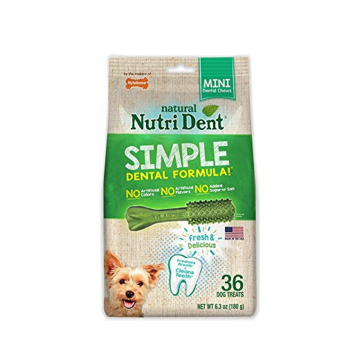 Nylabone Nutri Dent Simple Dental Treats for Dogs, Mini, 36 Count (Pack of 12)
