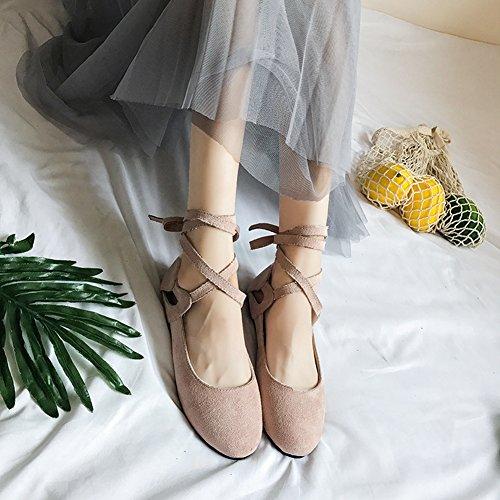 T-july Mujeres Ballet Flats Retro Slip On Round Toe Clásico Correas Zapatos Rosa