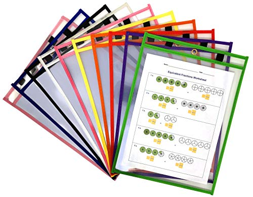 Dry Erase Pockets - 10 Pack Clear + Reusable Page Protectors Ideal for Office and Classroom Organization - Oversized 9 x 12 inch - Assorted Colors with Metal Eyelet + 2 Different Sized Marker Holders